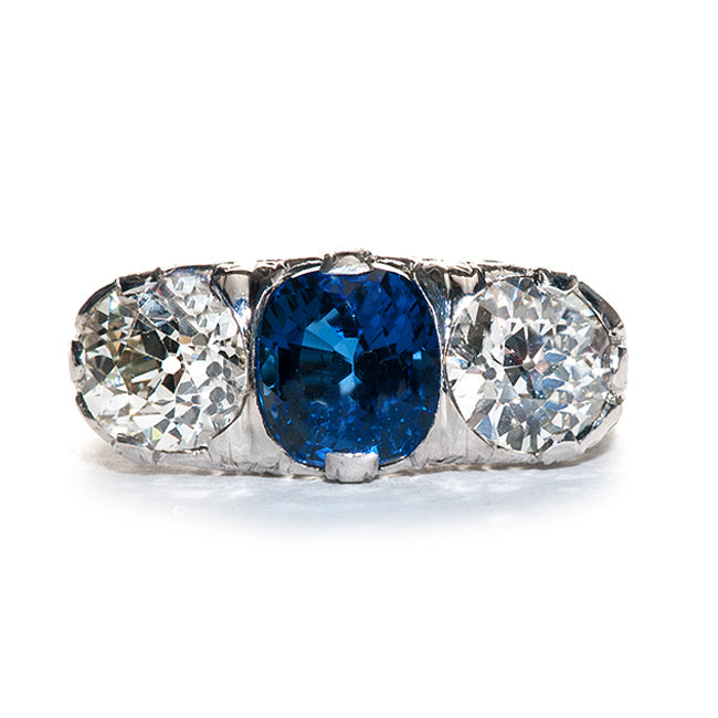 Vintage Sapphire and Diamond Ring | Vintage Edwardian Ring | Burlington from Trumpet & Horn