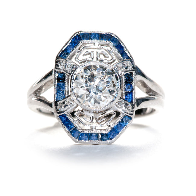 Edwardian Diamond & Sapphire Engagement Ring