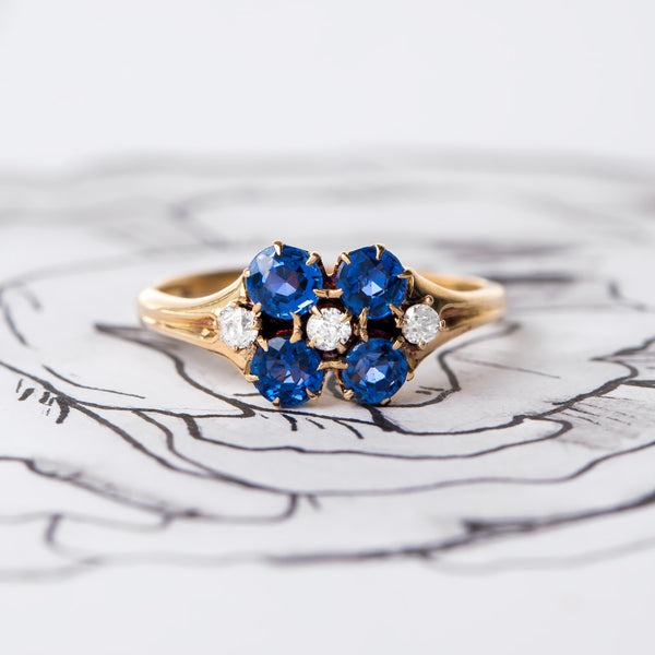 Whimsical Vintage Art Nouveau Sapphire and Diamond Engagement Ring | Lamport from Trumpet & Horn