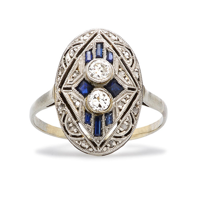 Art Deco Sapphire Engagement Ring | Lenox from Trumpet & Horn