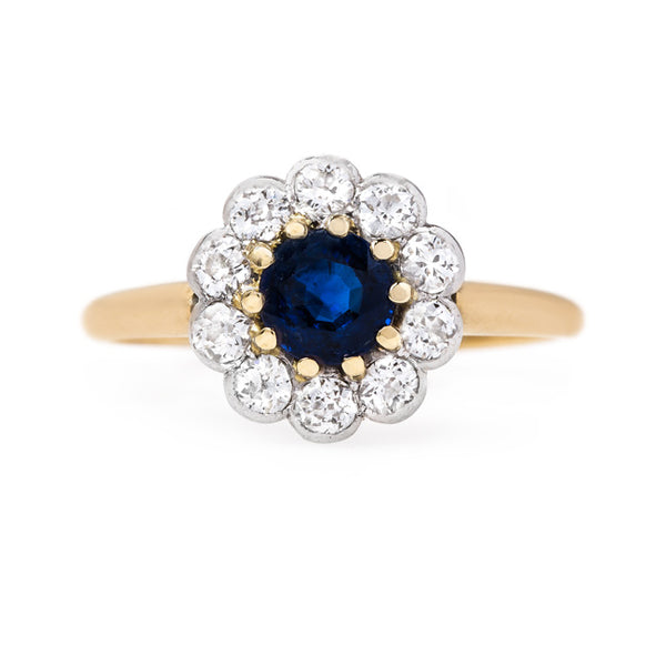 Rich Blue Sapphire with Diamond Halo | Fordham from Trumpet & Horn