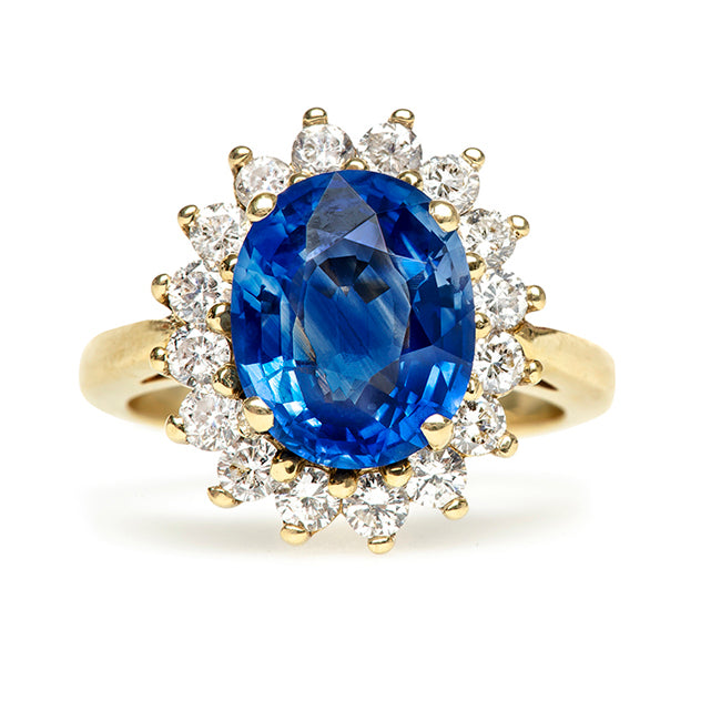 Creston Vintage Sapphire Diamond Halo Engagement Ring from Trumpet & Horn