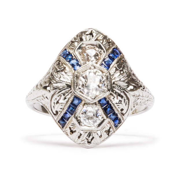 Vintage Engagement Ring | Vintage Diamond and Sapphire Ring | Vine from Trumpet & Horn