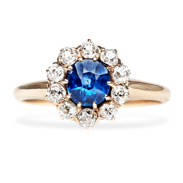 Antique Sapphire Old Mine Cut Diamond Halo Engagement Ring