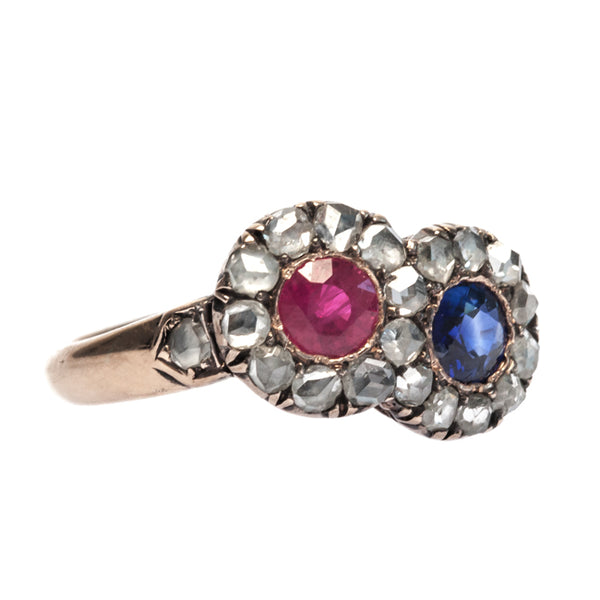 Bradbury vintage sapphire and ruby ring from Trumpet & Horn