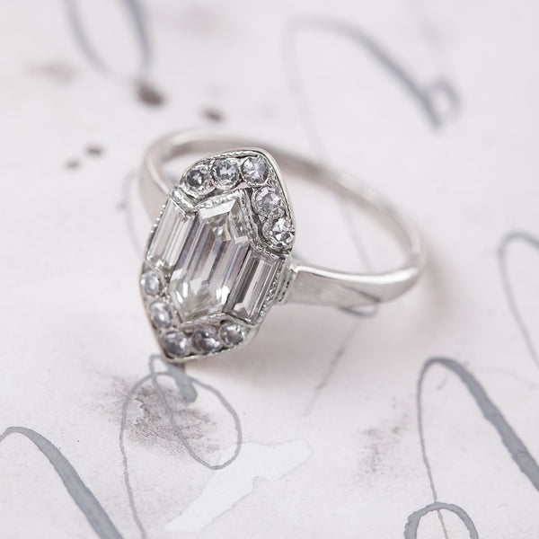 Vintage Art Deco Shield Shaped Engagement Ring | Gransmoor by Trumpet & Horn