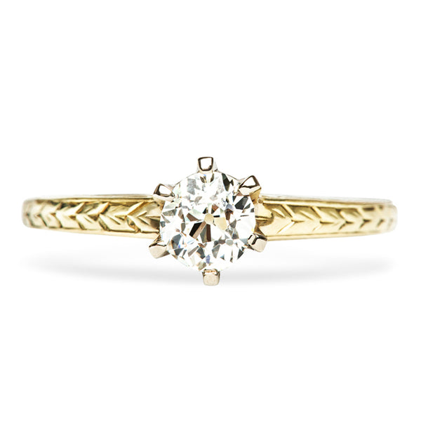 Vintage Gold Simple Solitaire Engagement Ring