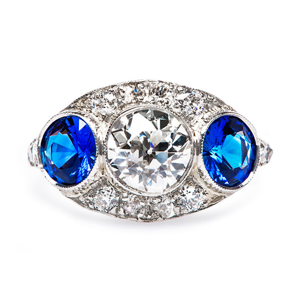 Edwardian Unique Sapphire Three Stone Engagement Ring | Winterhaven from Trumpet & Horn