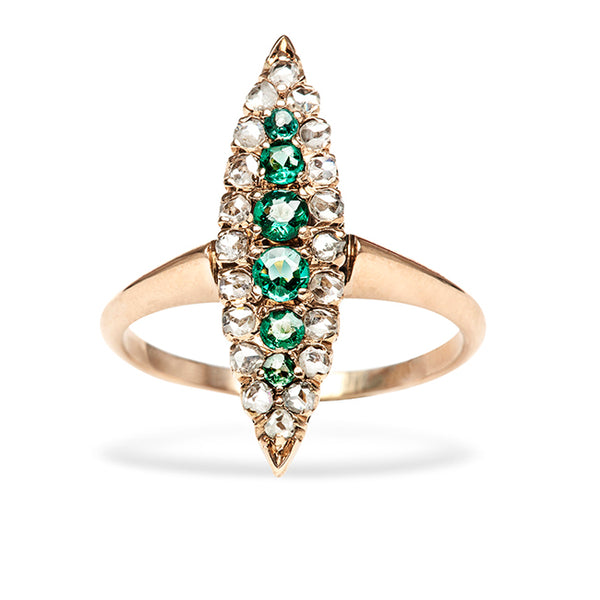 Chesapeake Vintage Emerald Diamond Gold Navette Engagement Ring from Trumpet & Horn
