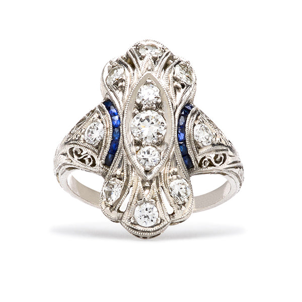 Art Deco Unusual Sapphire Wedding Ring | Avalon from Trumpet & Horn