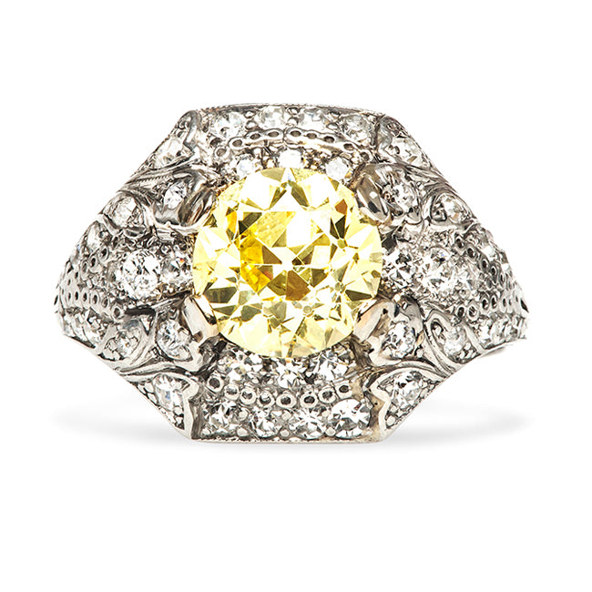 Sun Valley Vintage Fancy Yellow Diamond Engagement Ring from Trumpet & Horn