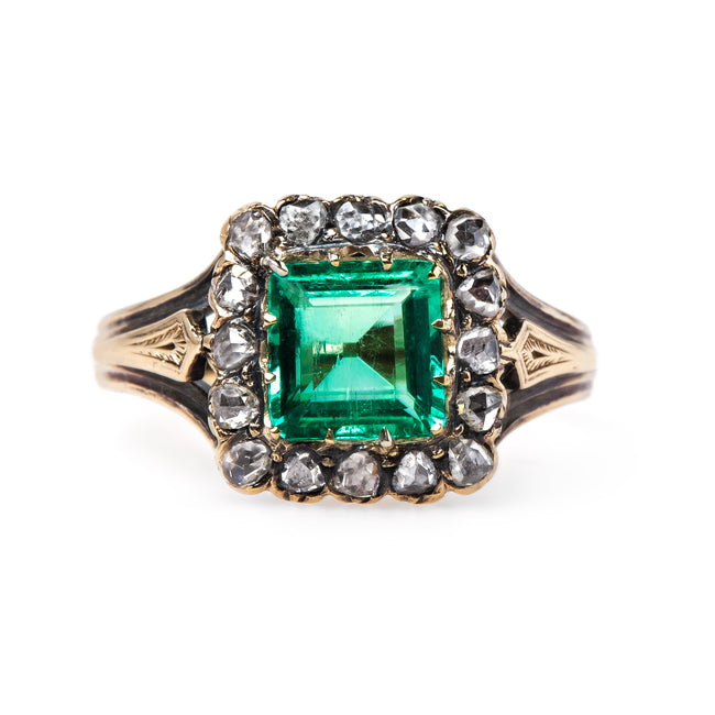 Fabulous Emerald Ring with Diamond Halo | Greenwich from Trumpet & Horn