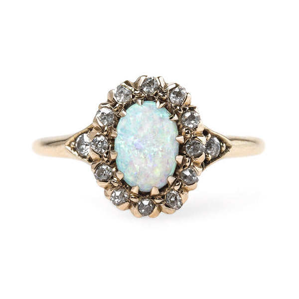 Victorian Era Opal Ring with Old Mine Cut Diamond Halo | Avondale from Trumpet & Horn