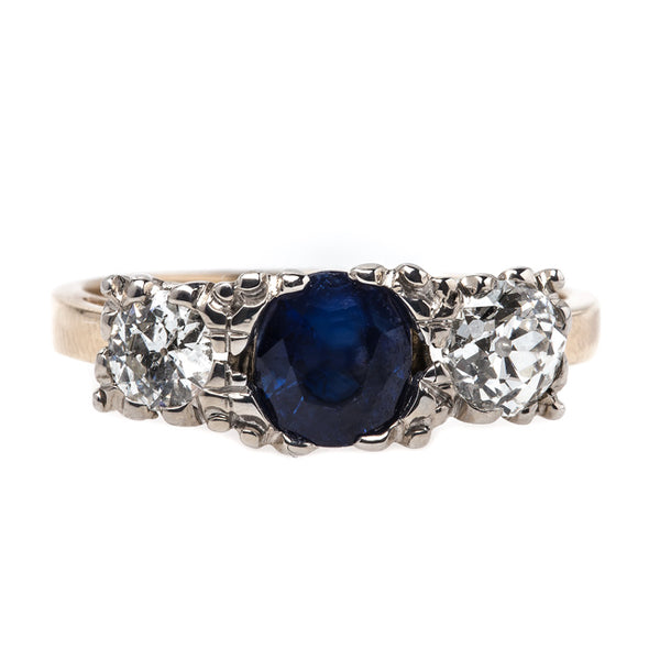 Traditional Vintage Victorian Era Three Stone Engagement Ring with Sapphire and Diamonds | Hammersmith from Trumpet & Horn