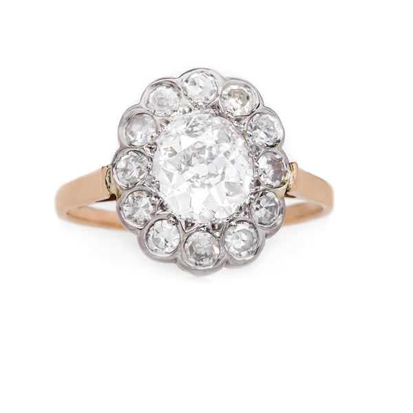 Gift Her An Exceptional Vintage Oval Diamond Halo Ring | Short Hills from Trumpet & Horn