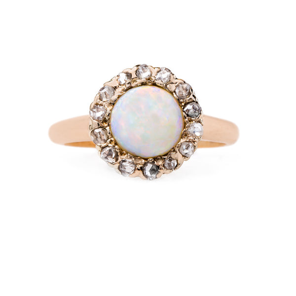 Classic Opal and Diamond Halo Ring | Canterbury