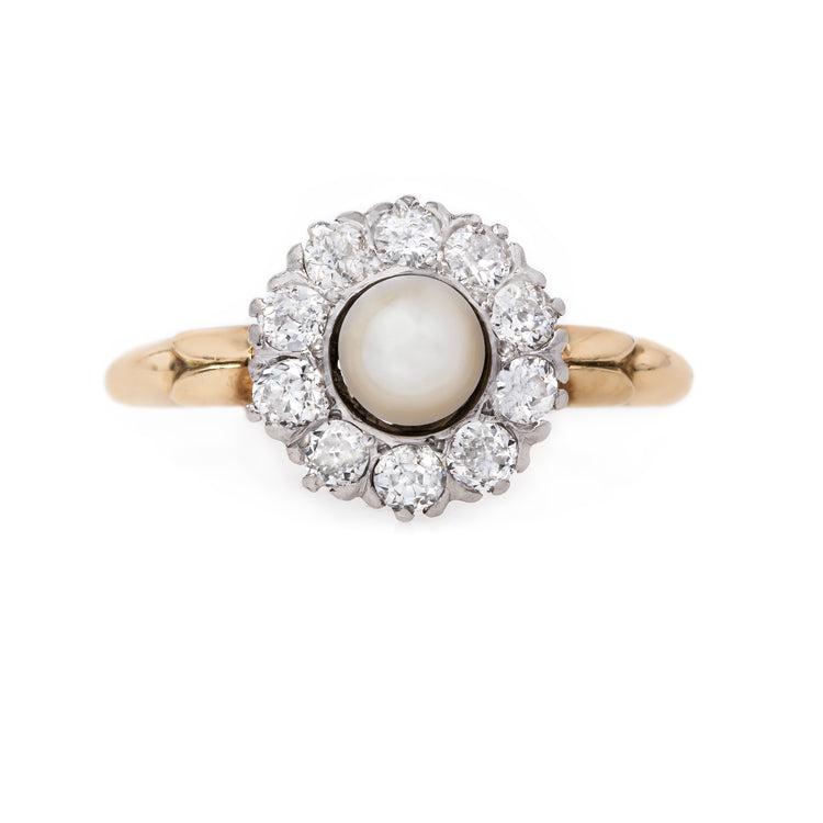 Fabulous Art Nouveau Ring with Pearl Center and Old Mine Cut Diamond | Calgary from Trumpet & Horn