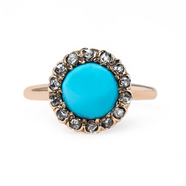 Striking Turquoise Ring with Diamond Halo | Robbinsville from Trumpet & Horn