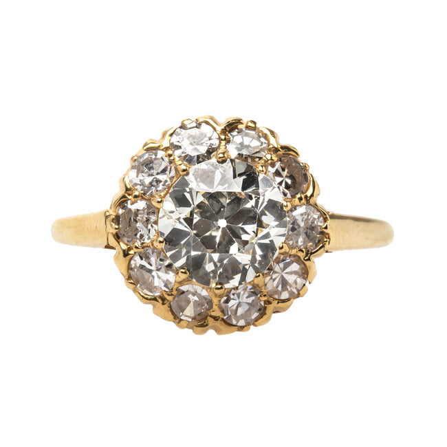 Showstopping Victorian Era 18k Yellow Gold Diamond Halo Ring | Rockbluff from Trumpet & Horn