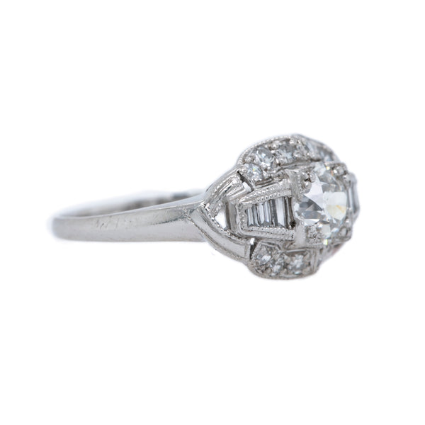 Wainscot Art Deco era platinum ring and diamond ring
