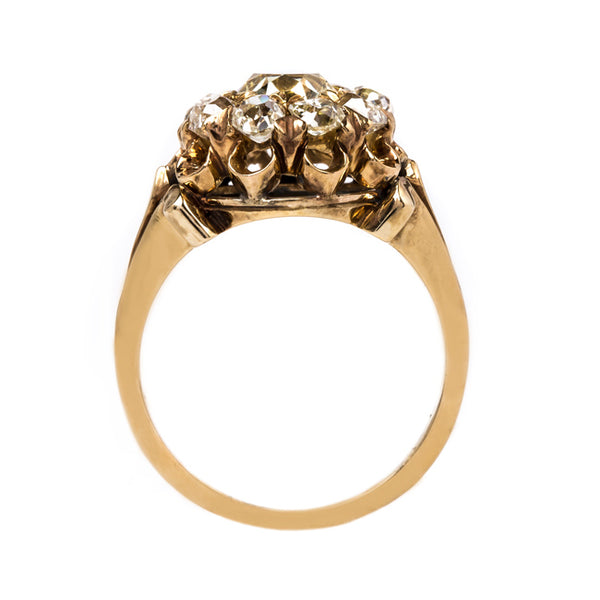Fancy Yellow Diamond Ring with Old Mine Cut Halo | Wake Forest from Trumpet & Horn
