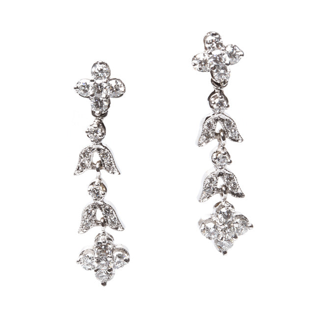 Vintage Inspired 18K White Gold Flower Earrings | Waterlily from Trumpet & Horn