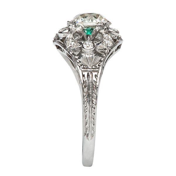 Weatherford Vintage Emerald Diamond Halo Engagement Ring from Trumpet & Horn