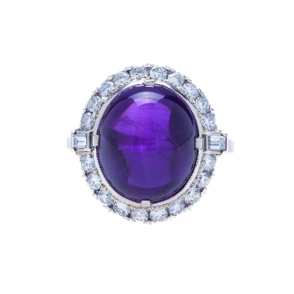 An Outstanding Art Deco Palladium, Amethyst and Diamond Cocktail Ring | Wellside