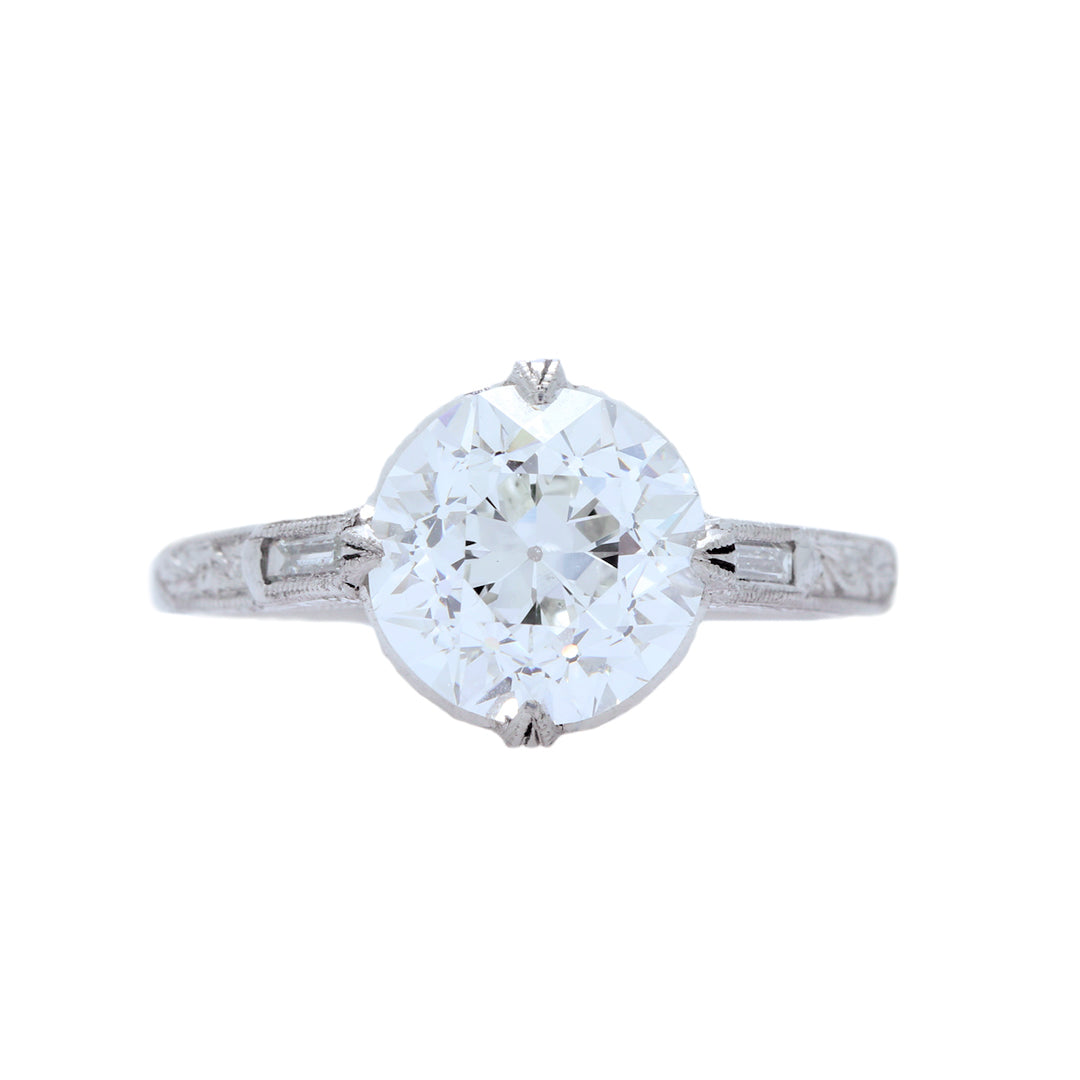 A Marvelous Art Deco Platinum and Diamond Engagement Ring | Wellsworth