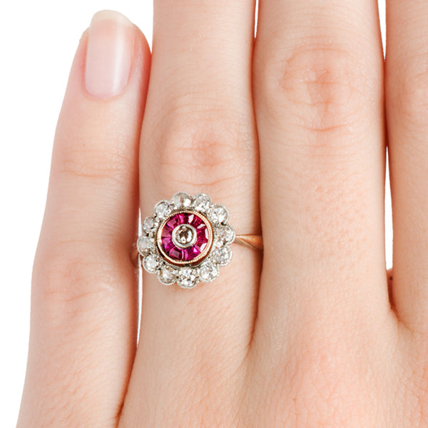 Wembley Antique Ruby Old Mine Cut Diamond Halo Engagement Ring from Trumpet & Horn