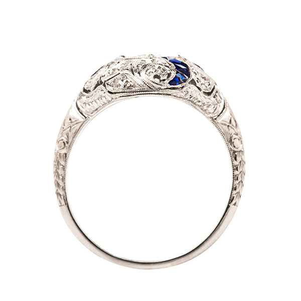 Edwardian Sapphire Diamond Navette Ring | Westchester from Trumpet & Horn