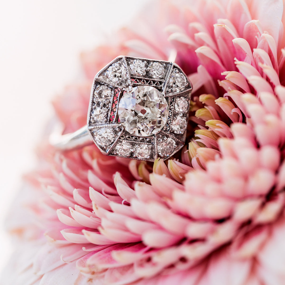 Striking and Unique Art Deco Engagement Ring | Whitcomb – Trumpet & Horn