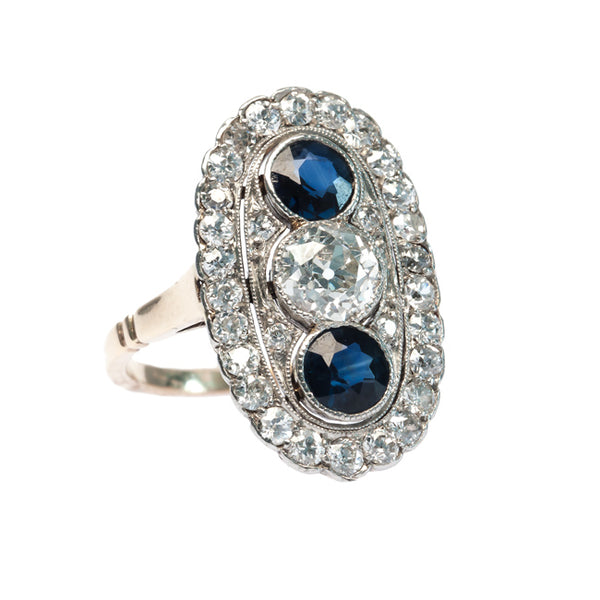 Whitehaven vintage Edwardian era Old European Cut diamond engagement ring with sapphires from Trumpet & Horn