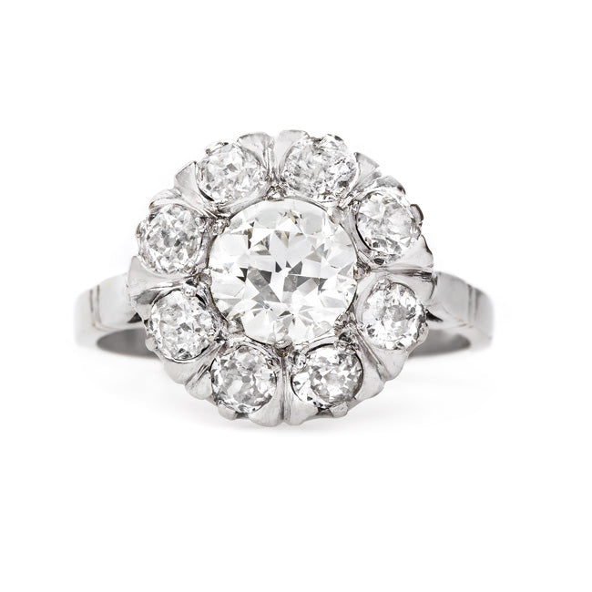 Dazzling White Gold and Diamond Cluster Ring | White Hills from Trumpet & Horn
