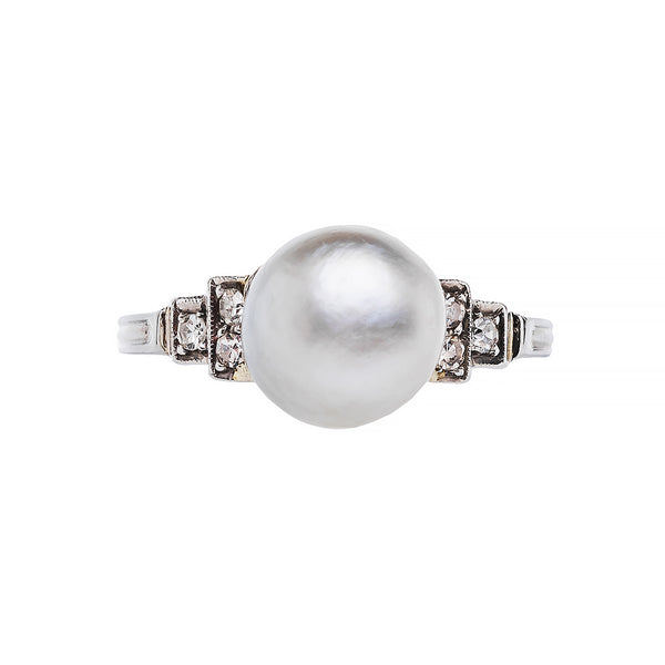vintage platinum pearl and diamond engagement ring