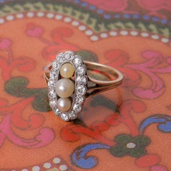 Unique Edwardian Pearl Engagement Ring | Whitely from Trumpet & Horn
