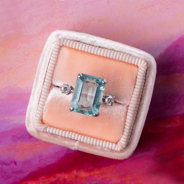 Classic Retro Era Aquamarine Cocktail Ring | Whitsett from Trumpet & Horn