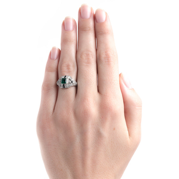 Fantastically Unique Art Deco Ring with Emerald Onyx and Diamonds | Wickham from Trumpet & Horn