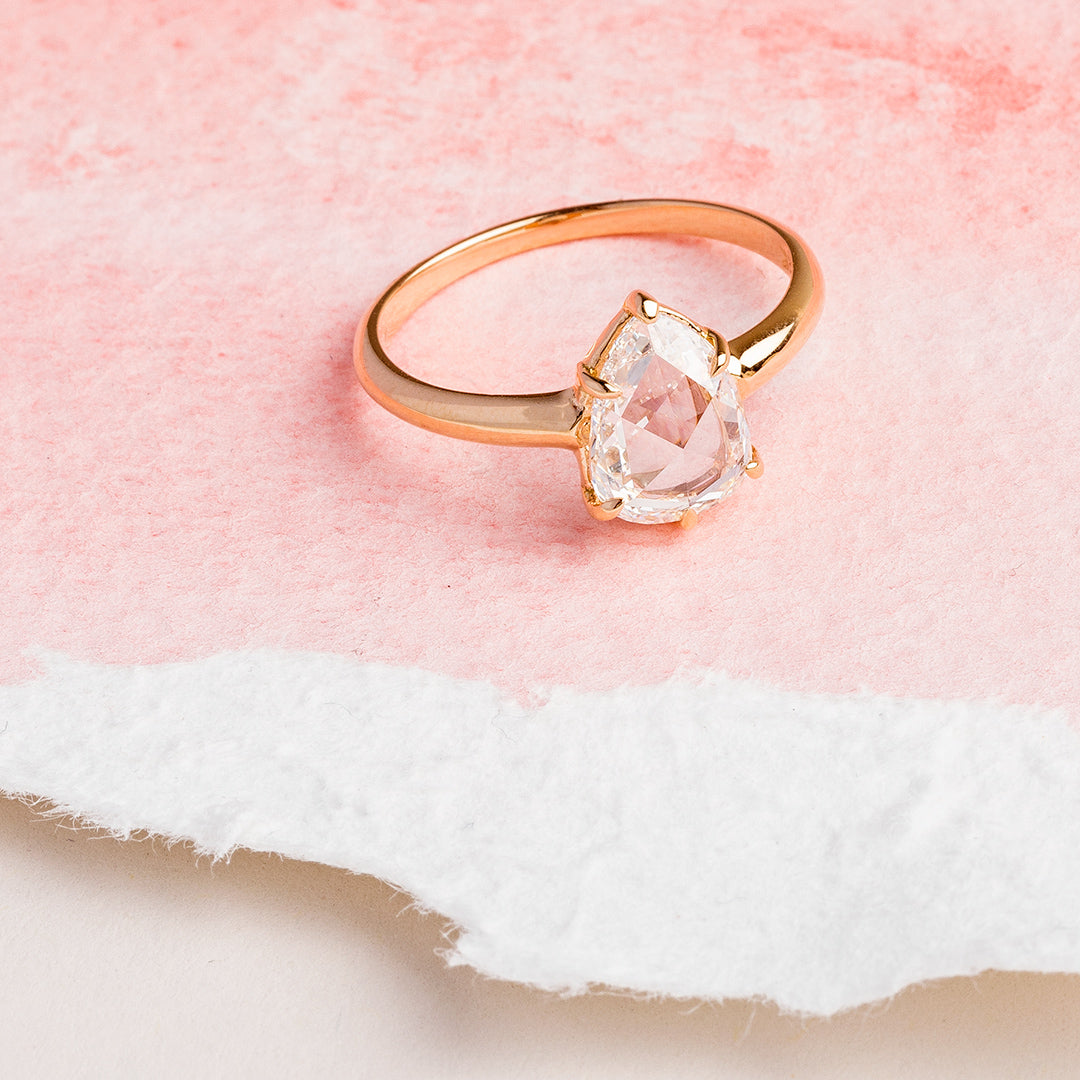 Vintage-Inspired Pear Shaped Rose Cut Diamond Solitaire | Wildstone ...