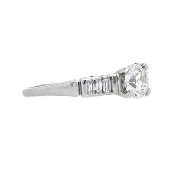 Architectural Art Deco Platinum Old Euro Diamond with Baguette Accents Engagement Ring