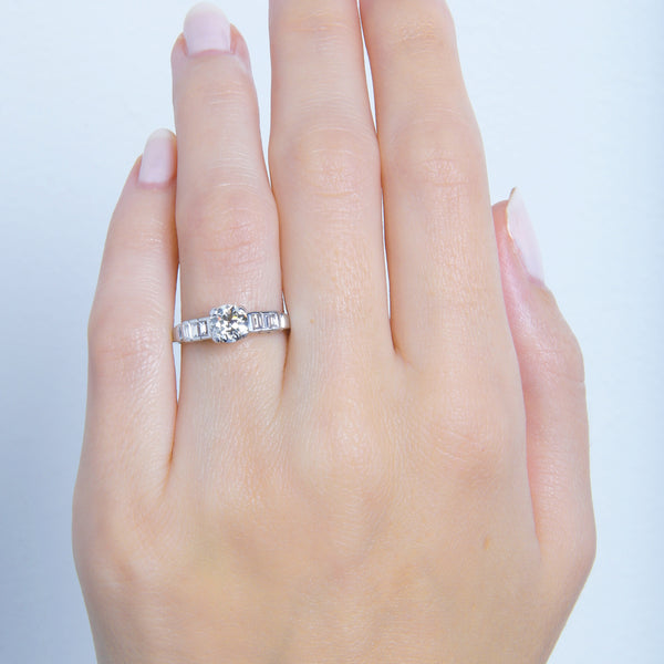 A Gorgeous Art Deco Platinum and Diamond Engagement Ring