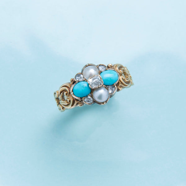 A Whimsical and Authentic Art Nouveau Diamond, Pearl and Turquoise Ring | Willford