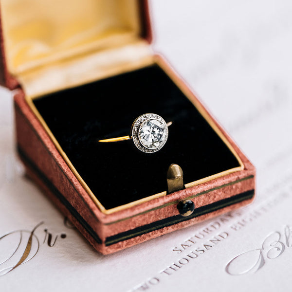 Beautiful and Delicate Bezel Set Halo Ring | Willow Glen from Trumpet & Horn