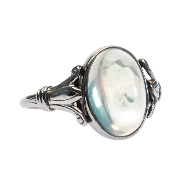 Willowbrook Edwardian Era Platinum Ring with Transparent Opal from Trumpet & Horn
