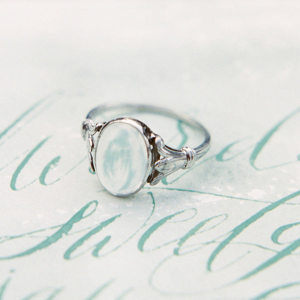 Willowbrook Edwardian Era Platinum Ring with Transparent Opal from Trumpet & Horn | Photo by Sawyer Baird