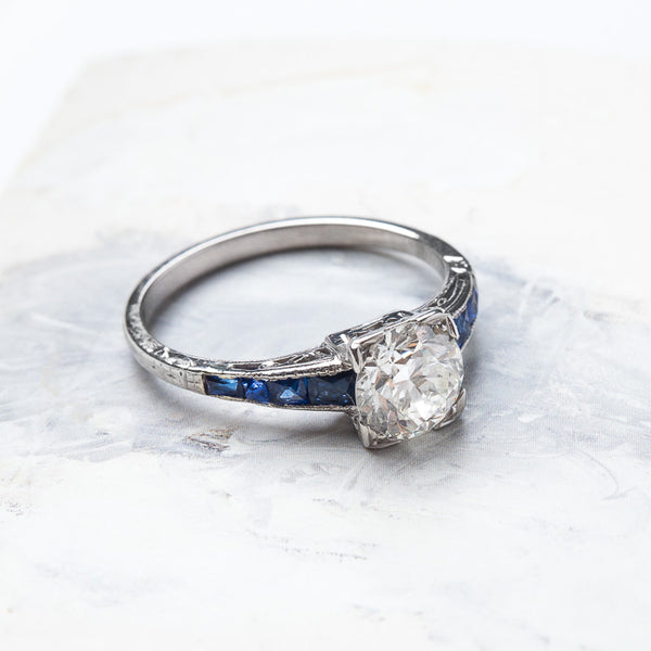 Incredible Art Deco Ring with Sapphire Shoulders | Windermere from Trumpet & Horn