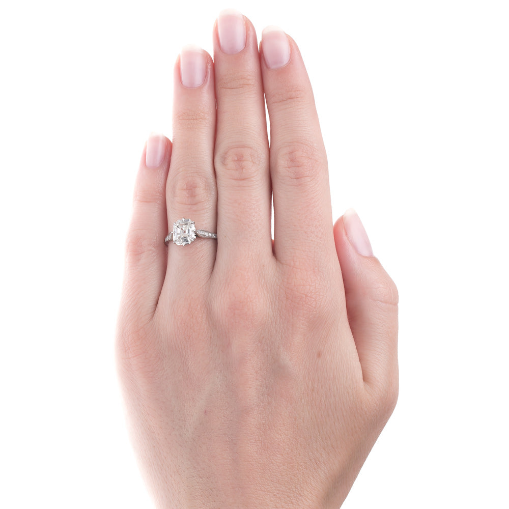 Handcrafted Platinum Engagement Ring with Most Unique Diamond ...