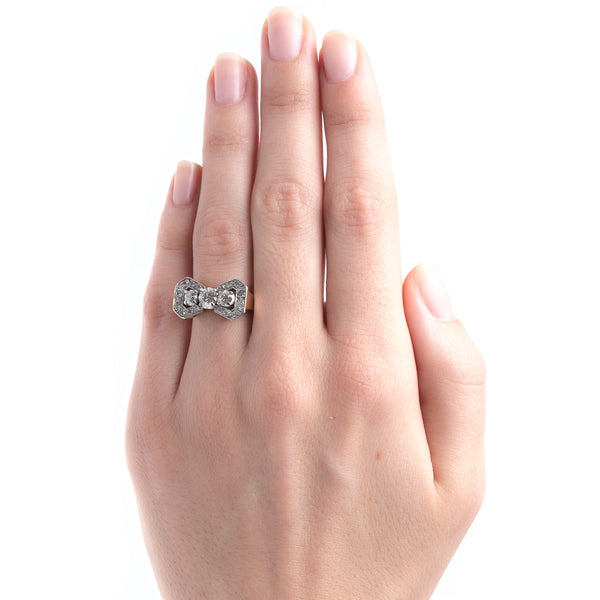 Retro Diamond Ring with Bow Shaped Motif | Windrose Way from Trumpet & Horn