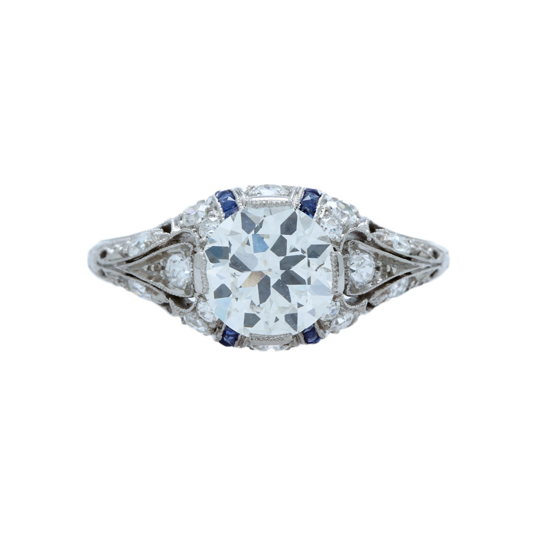 An Important Edwardian Era Platinum, Diamond and Sapphire Engagement Ring