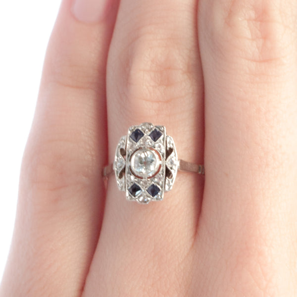 Winterlake vintage Edwardian diamond and sapphire engagement ring from Trumpet & Horn
